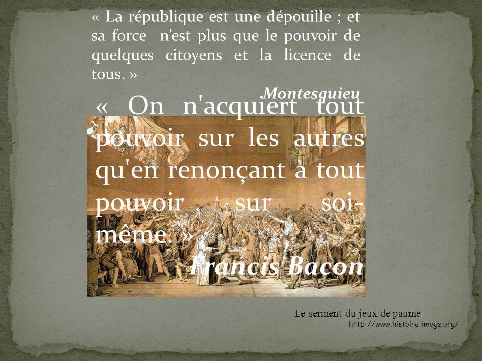 « La république est une dépouille ; et sa force nest plus que le pouvoir de quelques citoyens et la licence de tous.