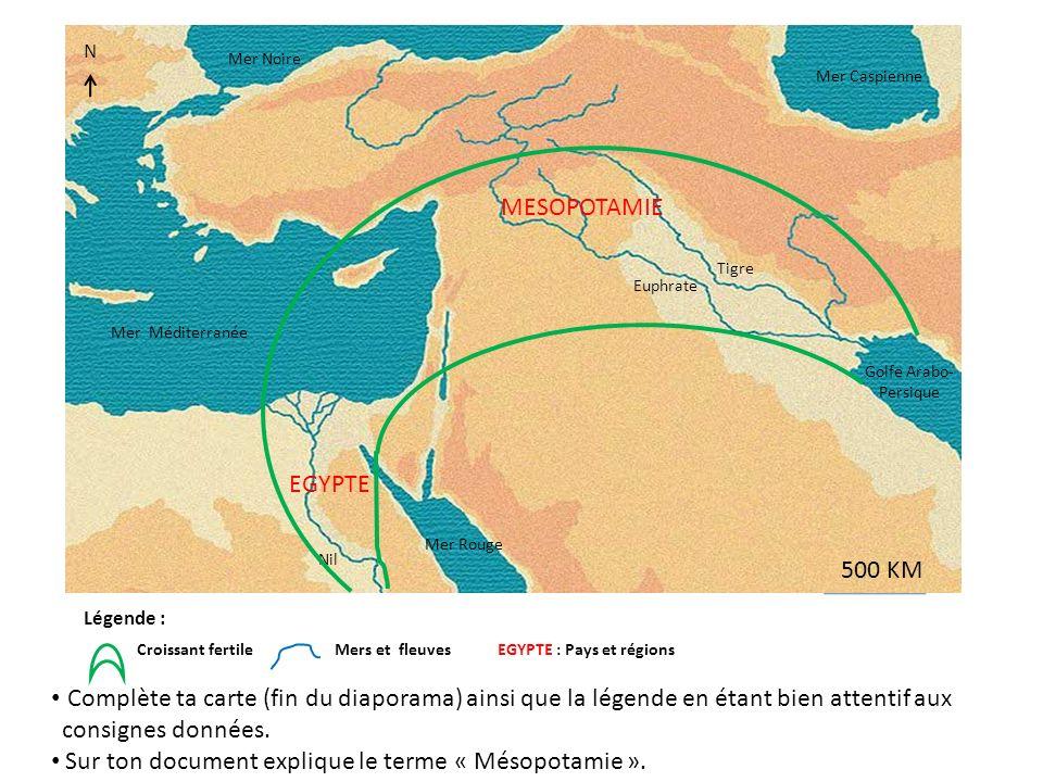 N Légende: Villes Croissant fertile Mers et fleuves EGYPTE : Pays et régions 500 KM Mer Méditerranée Mer Rouge Euphrate Tigre Mer Noire Mer Caspienne Golfe Arabo- persique Nil EGYPTE MESOPOTAMIE N Quelle civilisation, quels états, la Mésopotamie accueille-t-elle au IIIe millénaire avant J.C .