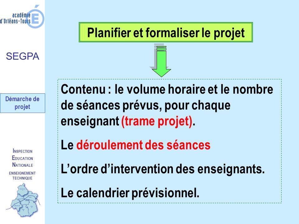 I NSPECTION E DUCATION N ATIONALE ENSEIGNEMENT TECHNIQUE Planifier et formaliser le projet Contenu : le volume horaire et le nombre de séances prévus,