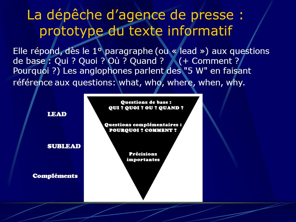 La dépêche dagence de presse : prototype du texte informatif ORDRE DE PRIORITE : Code 1 : il sagit dun FLASH (événement très important, cf exemple) FRA0064 1 G 0004 FRA/AFP-RC58 FLASH - Diana est morte ly AFP 310544 AOU 97 Code 2 : un BULLETIN, souvent les premiers développements dun flash Code 3 : URGENT, peut signaler un additif important pour le client Code 4 : dépêche ordinaire