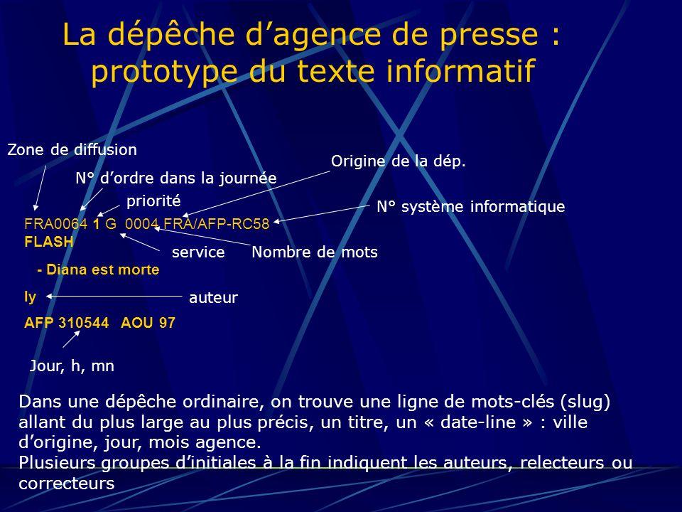 La dépêche dagence de presse : prototype du texte informatif LEAD ET SUBLEAD Le lead doit être concis : une seule phrase, environ 35 mots.