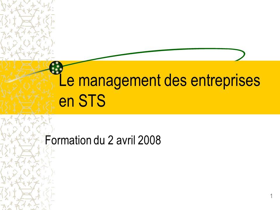 1 Le management des entreprises en STS Formation du 2 avril 2008