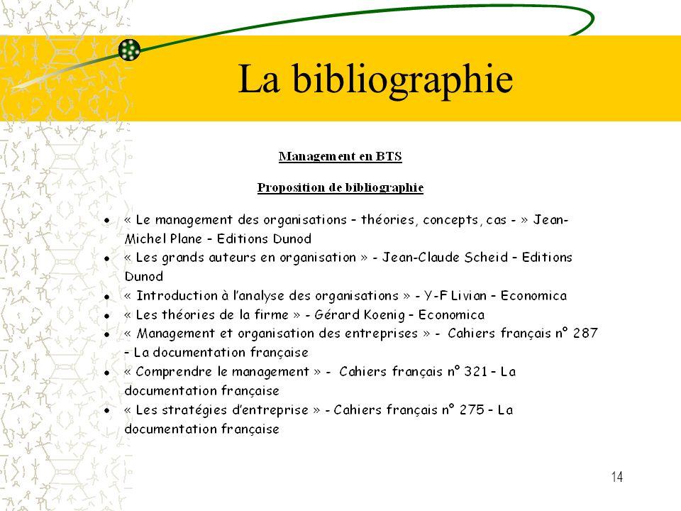 14 La bibliographie