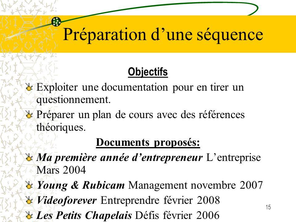 15 Préparation dune séquence Objectifs Exploiter une documentation pour en tirer un questionnement. Préparer un plan de cours avec des références théo