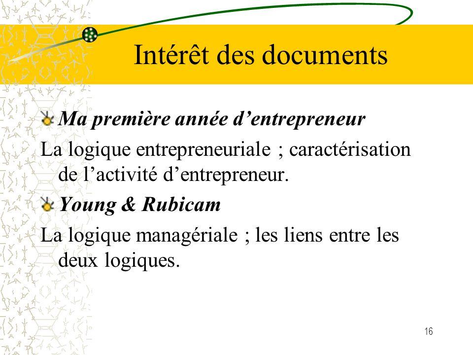 16 Intérêt des documents Ma première année dentrepreneur La logique entrepreneuriale ; caractérisation de lactivité dentrepreneur. Young & Rubicam La