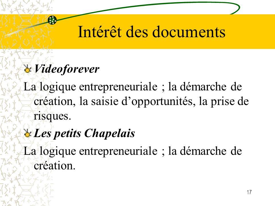 17 Intérêt des documents Videoforever La logique entrepreneuriale ; la démarche de création, la saisie dopportunités, la prise de risques. Les petits