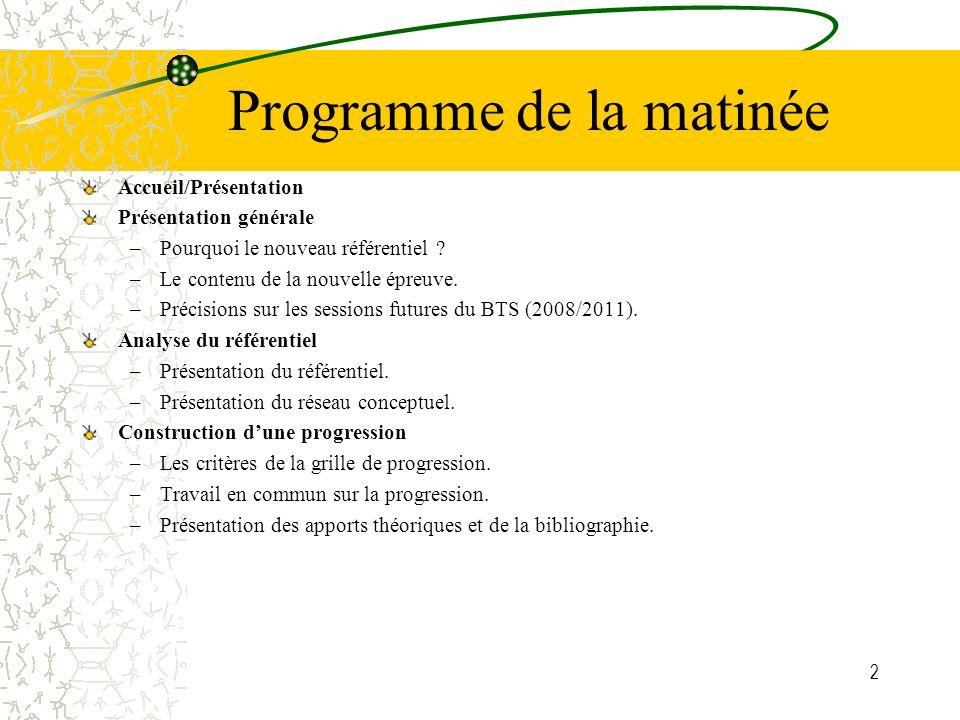 2 Programme de la matinée Accueil/Présentation Présentation générale –Pourquoi le nouveau référentiel .