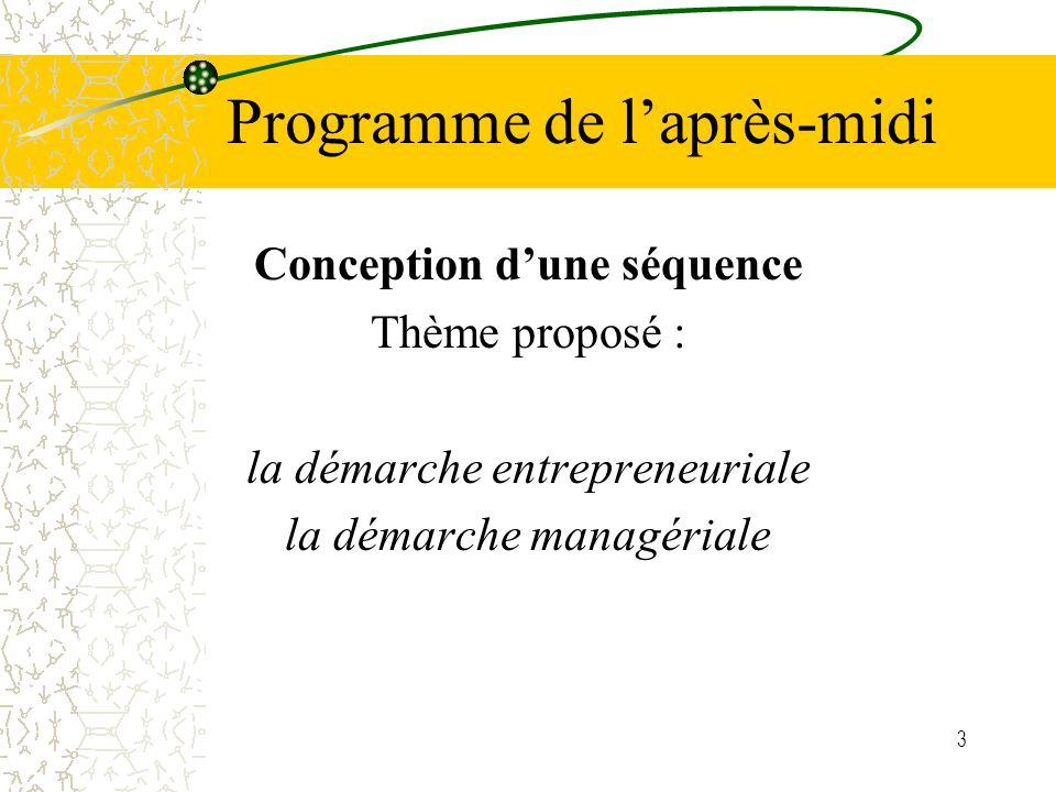 3 Programme de laprès-midi Conception dune séquence Thème proposé : la démarche entrepreneuriale la démarche managériale