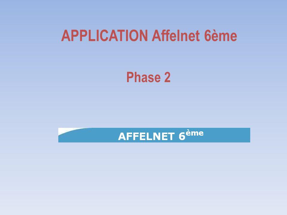 APPLICATION Affelnet 6ème Phase 2