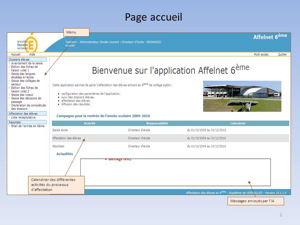 Page accueil 2 Calendrier des différentes activités du processus daffectation Messages envoyés par lIA Menu