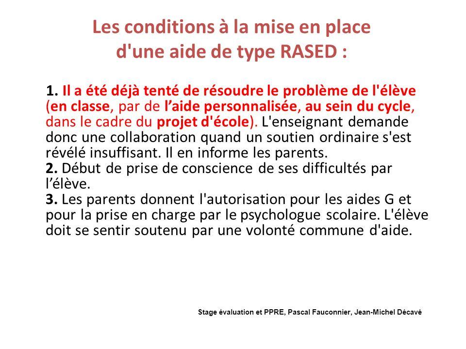 Les conditions à la mise en place d une aide de type RASED : 1.