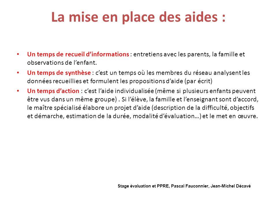 La mise en place des aides : Un temps de recueil dinformations : entretiens avec les parents, la famille et observations de lenfant.