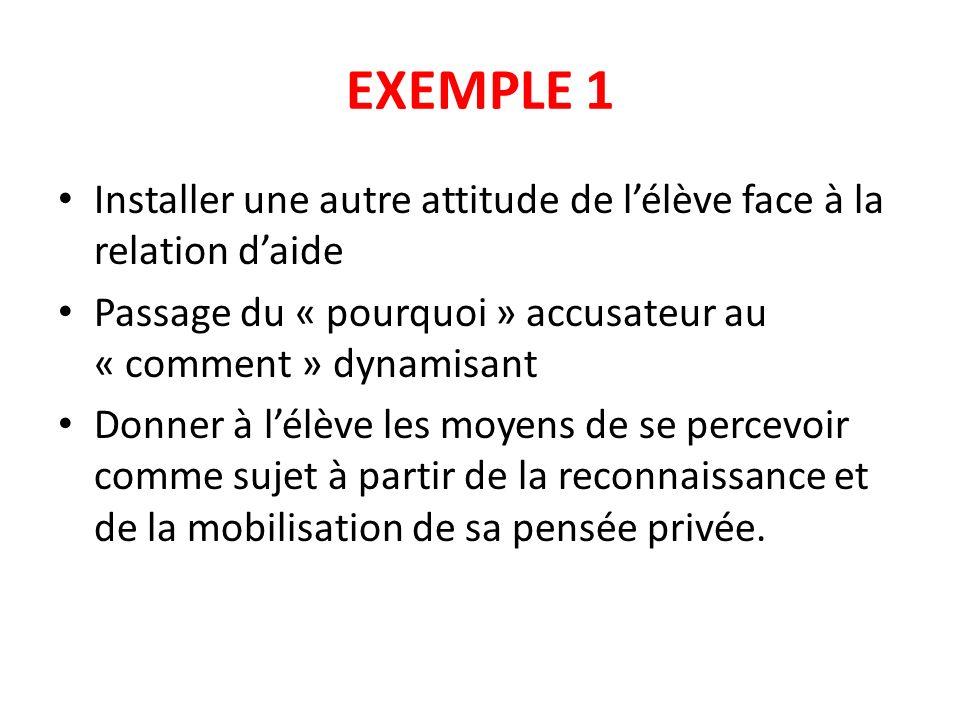 EXEMPLE 1 Installer une autre attitude de lélève face à la relation daide Passage du « pourquoi » accusateur au « comment » dynamisant Donner à lélève