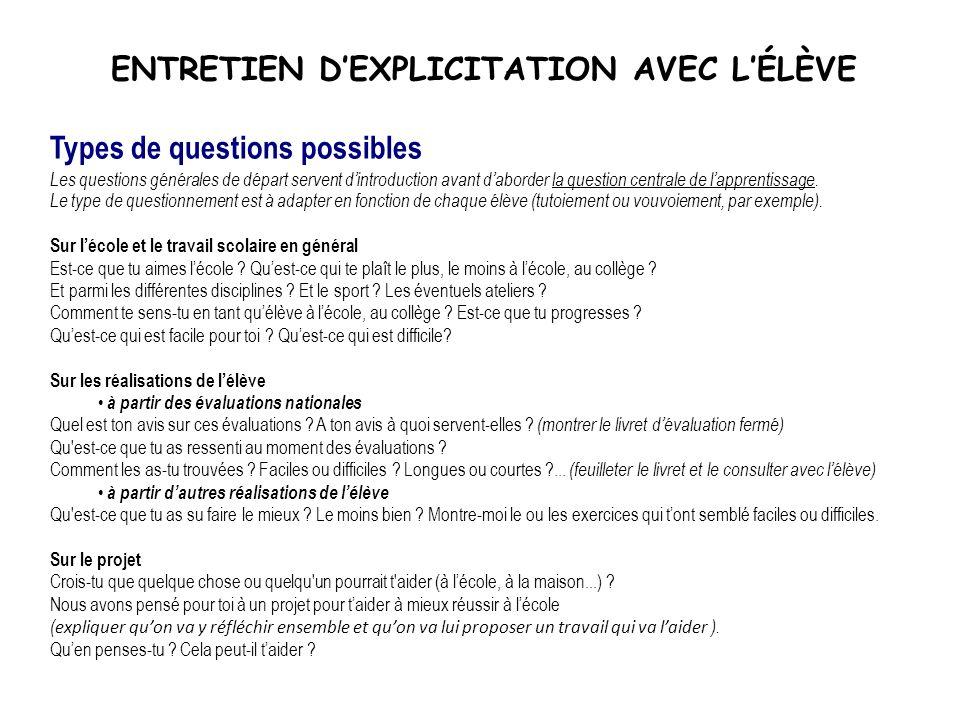 ENTRETIEN DEXPLICITATION AVEC LÉLÈVE Types de questions possibles Les questions générales de départ servent dintroduction avant daborder la question c