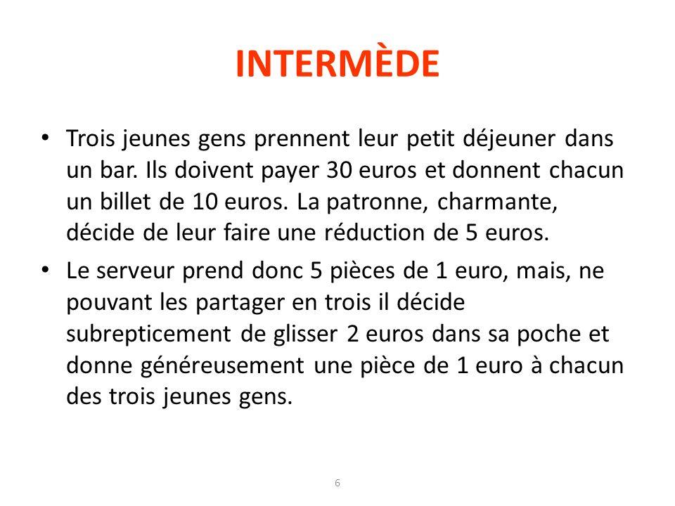 6 INTERMÈDE Trois jeunes gens prennent leur petit déjeuner dans un bar. Ils doivent payer 30 euros et donnent chacun un billet de 10 euros. La patronn