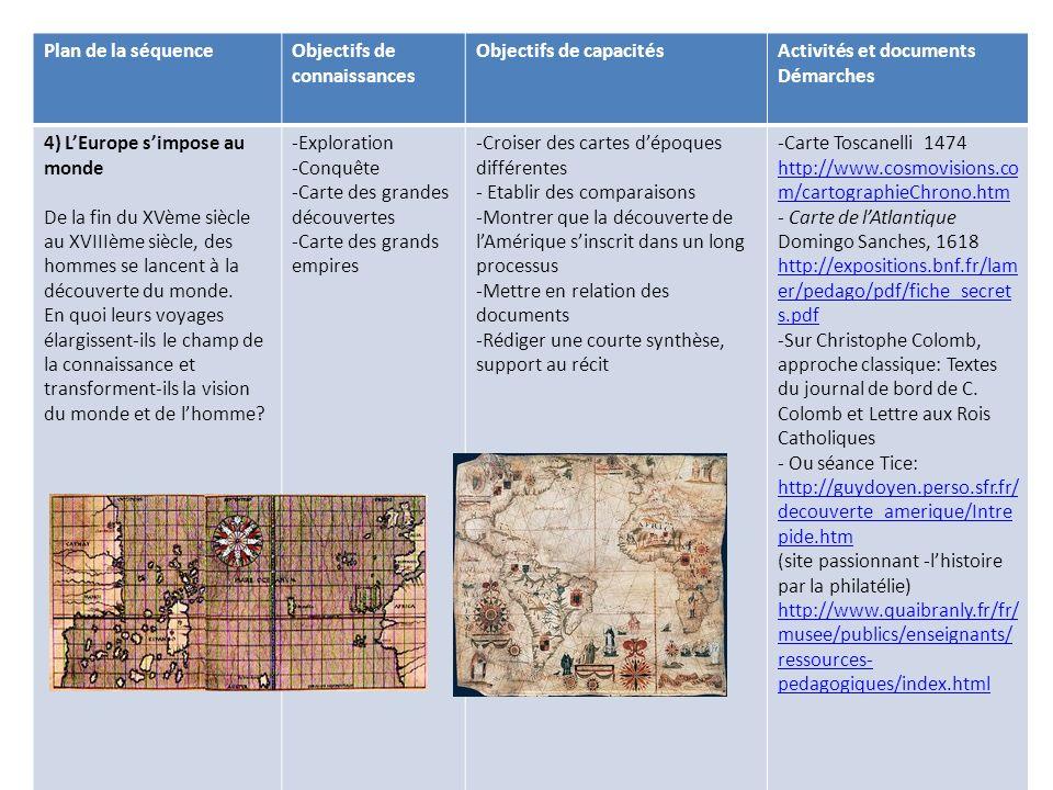 Plan de la séquenceObjectifs de connaissances Objectifs de capacitésActivités et documents Démarches 4) LEurope simpose au monde De la fin du XVème si