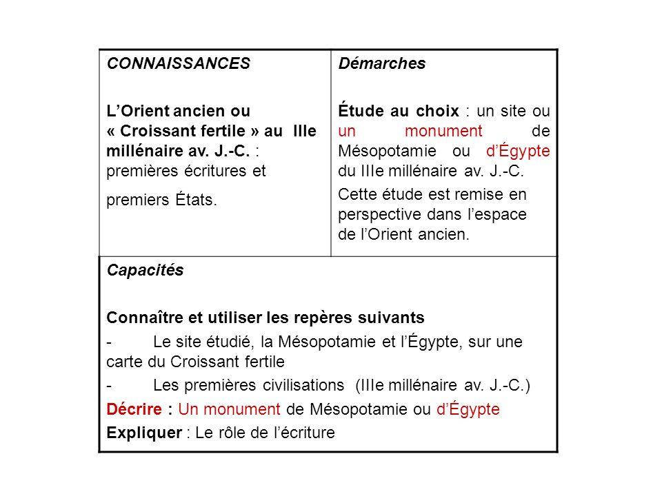 CONNAISSANCES LOrient ancien ou « Croissant fertile » au IIIe millénaire av. J.-C. : premières écritures et premiers États. Démarches Étude au choix :