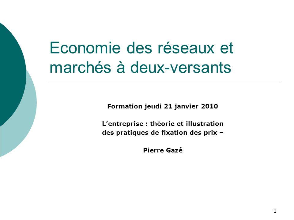 1 Economie des réseaux et marchés à deux-versants Formation jeudi 21 janvier 2010 Lentreprise : théorie et illustration des pratiques de fixation des