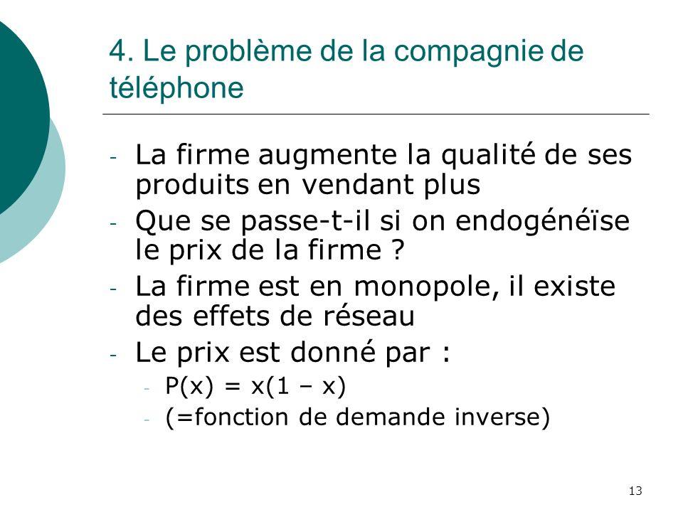 13 4. Le problème de la compagnie de téléphone - La firme augmente la qualité de ses produits en vendant plus - Que se passe-t-il si on endogénéïse le
