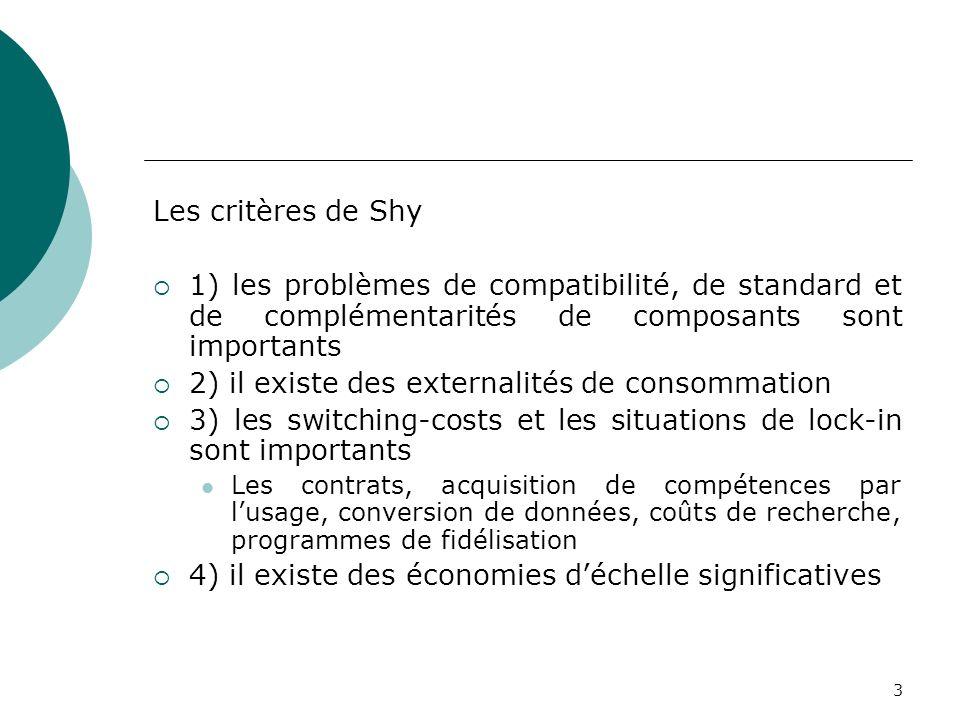 3 Les critères de Shy 1) les problèmes de compatibilité, de standard et de complémentarités de composants sont importants 2) il existe des externalité