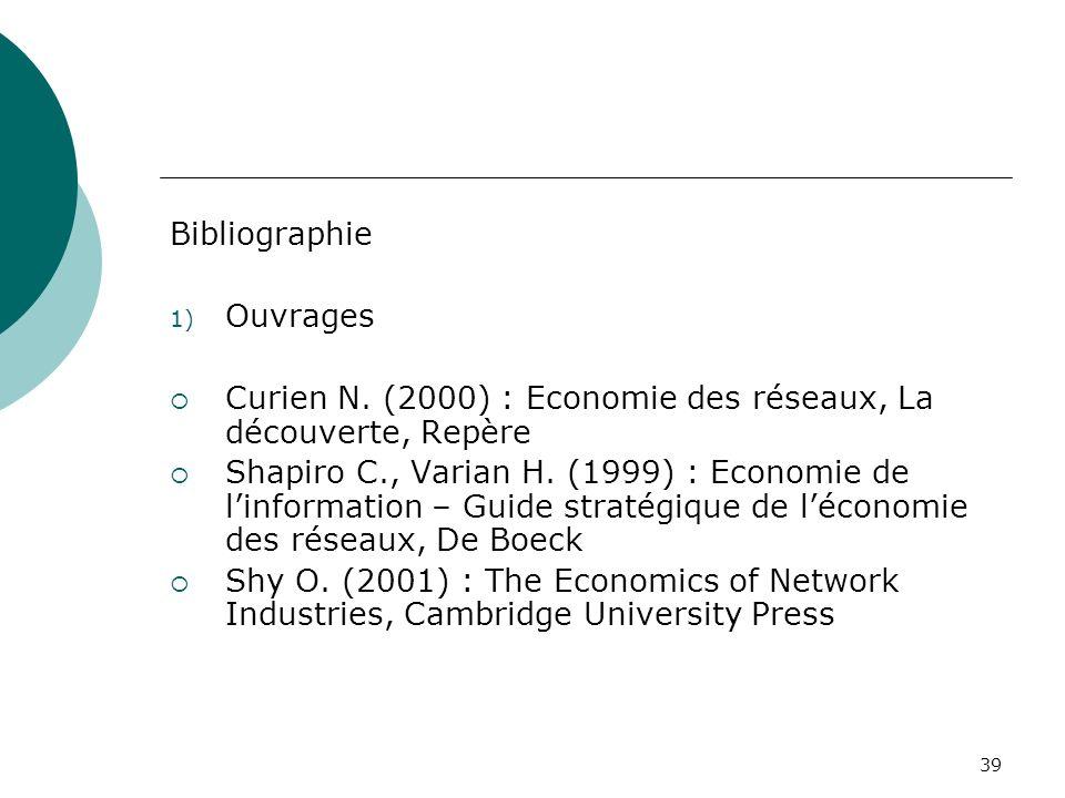 39 Bibliographie 1) Ouvrages Curien N. (2000) : Economie des réseaux, La découverte, Repère Shapiro C., Varian H. (1999) : Economie de linformation –