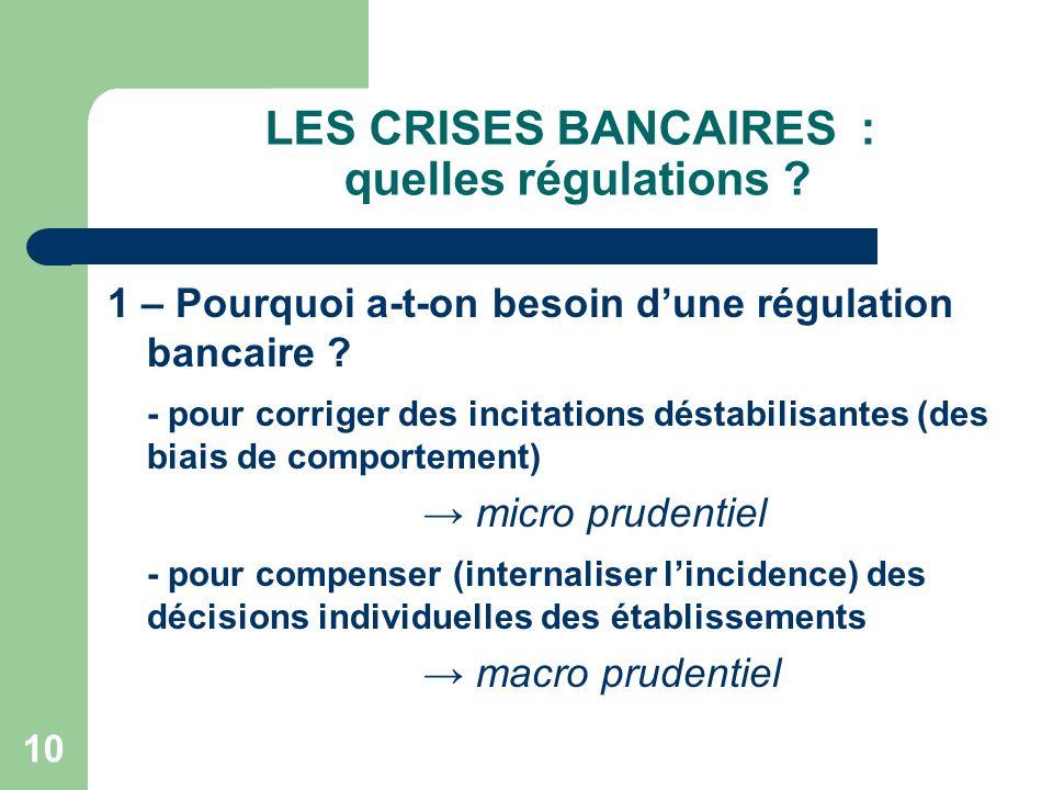 10 LES CRISES BANCAIRES : quelles régulations ? 1 – Pourquoi a-t-on besoin dune régulation bancaire ? - pour corriger des incitations déstabilisantes
