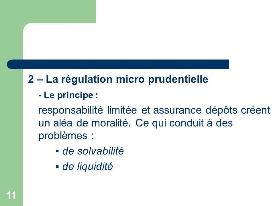 11 2 – La régulation micro prudentielle - Le principe : responsabilité limitée et assurance dépôts créent un aléa de moralité. Ce qui conduit à des pr