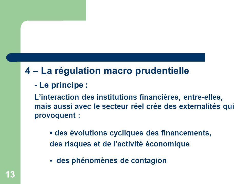 13 4 – La régulation macro prudentielle - Le principe : Linteraction des institutions financières, entre-elles, mais aussi avec le secteur réel crée d