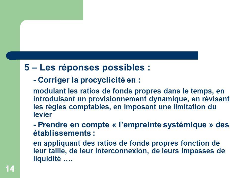 14 5 – Les réponses possibles : - Corriger la procyclicité en : modulant les ratios de fonds propres dans le temps, en introduisant un provisionnement