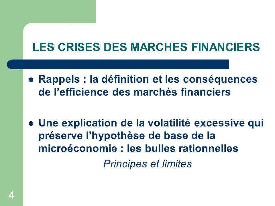 4 LES CRISES DES MARCHES FINANCIERS Rappels : la définition et les conséquences de lefficience des marchés financiers Une explication de la volatilité