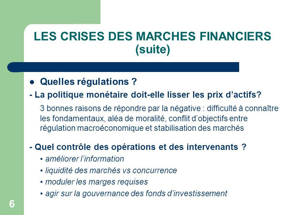 6 LES CRISES DES MARCHES FINANCIERS (suite) Quelles régulations ? - La politique monétaire doit-elle lisser les prix dactifs? 3 bonnes raisons de répo