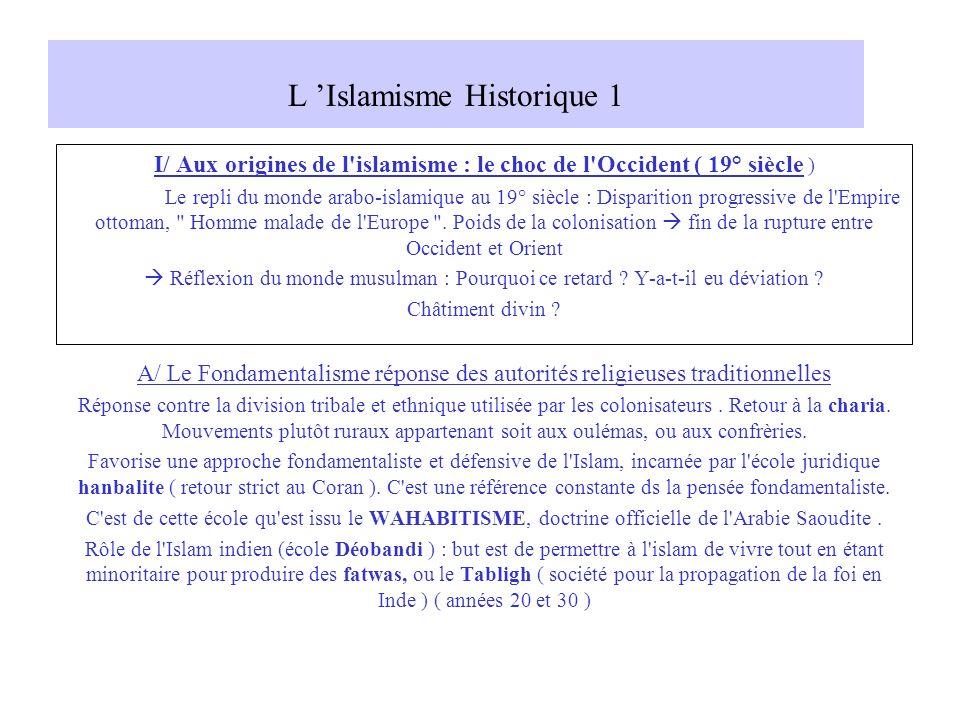 L Islamisme Historique 1 I/ Aux origines de l'islamisme : le choc de l'Occident ( 19° siècle ) Le repli du monde arabo-islamique au 19° siècle : Dispa