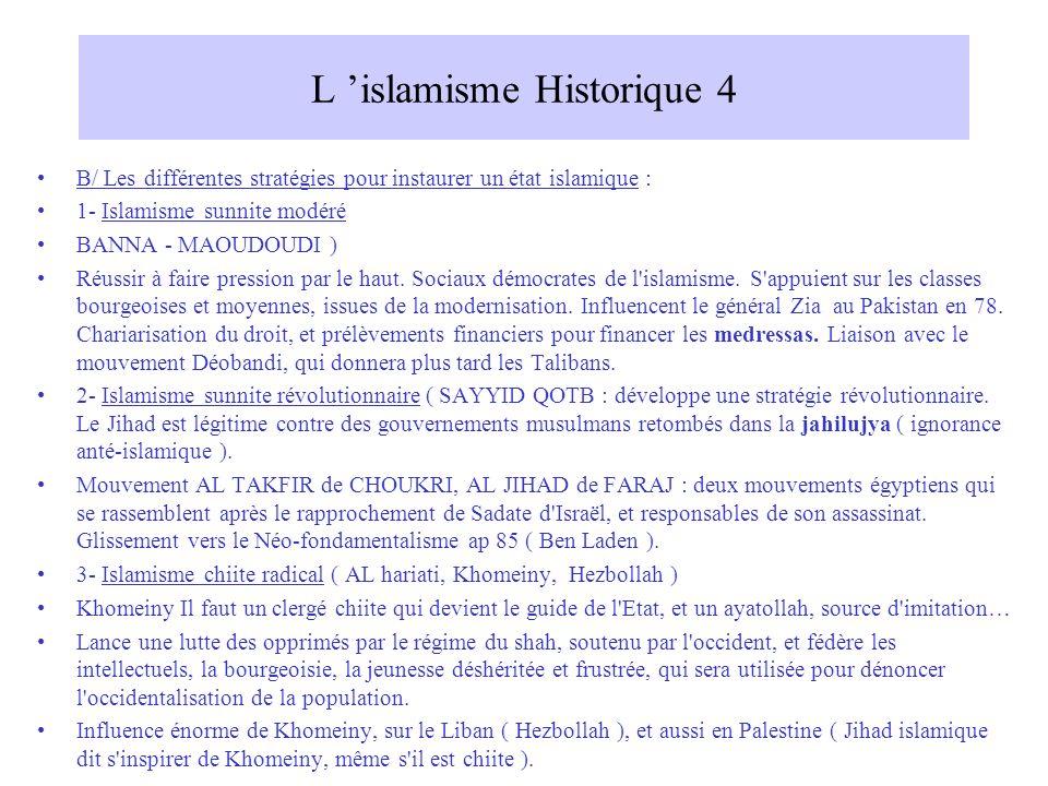 L islamisme Historique 4 B/ Les différentes stratégies pour instaurer un état islamique : 1- Islamisme sunnite modéré BANNA - MAOUDOUDI ) Réussir à faire pression par le haut.