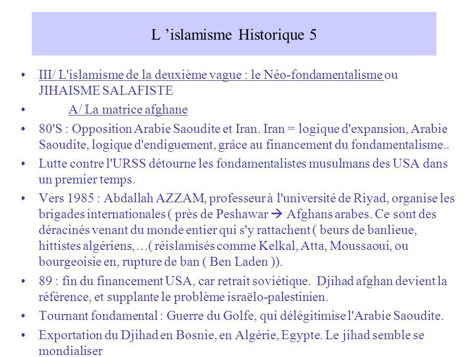 L islamisme Historique 5 III/ L islamisme de la deuxième vague : le Néo-fondamentalisme ou JIHAISME SALAFISTE A/ La matrice afghane 80 S : Opposition Arabie Saoudite et Iran.