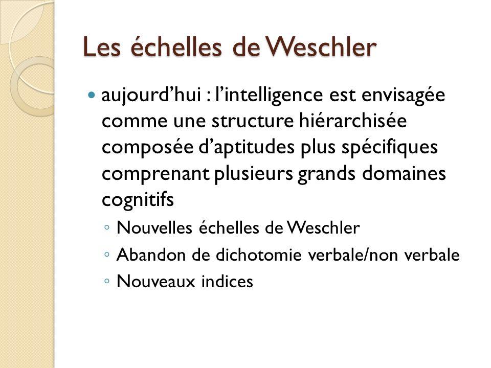 Les échelles de Weschler aujourdhui : lintelligence est envisagée comme une structure hiérarchisée composée daptitudes plus spécifiques comprenant plu