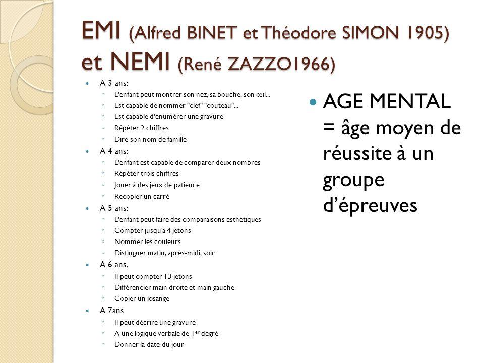 EMI (Alfred BINET et Théodore SIMON 1905) et NEMI (René ZAZZO1966) A 3 ans: L'enfant peut montrer son nez, sa bouche, son œil... Est capable de nommer