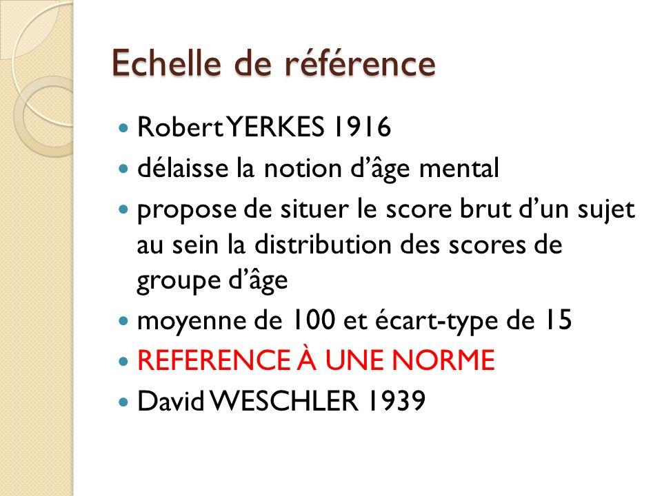 Echelle de référence Robert YERKES 1916 délaisse la notion dâge mental propose de situer le score brut dun sujet au sein la distribution des scores de