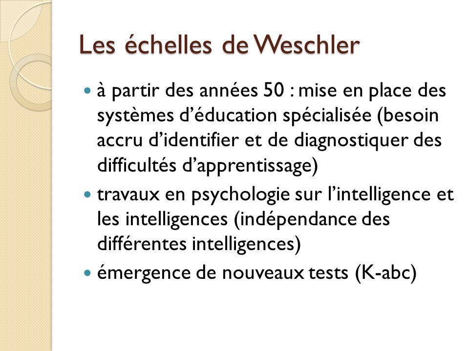 Les échelles de Weschler à partir des années 50 : mise en place des systèmes déducation spécialisée (besoin accru didentifier et de diagnostiquer des