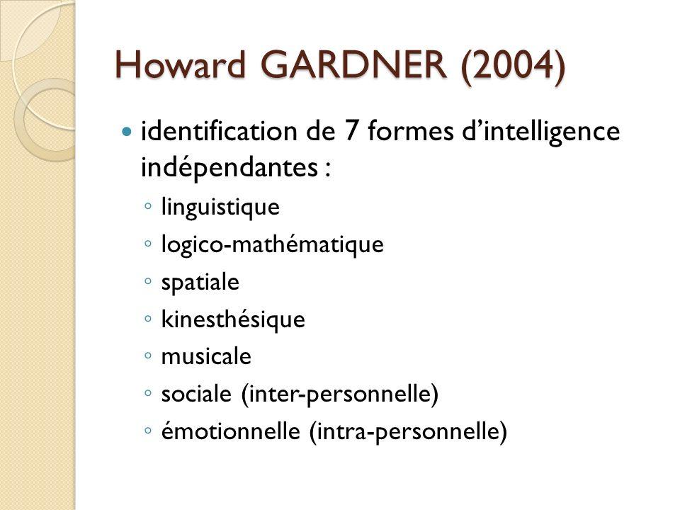 Howard GARDNER (2004) identification de 7 formes dintelligence indépendantes : linguistique logico-mathématique spatiale kinesthésique musicale social