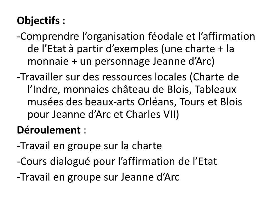Objectifs : -Comprendre lorganisation féodale et laffirmation de lEtat à partir dexemples (une charte + la monnaie + un personnage Jeanne dArc) -Trava