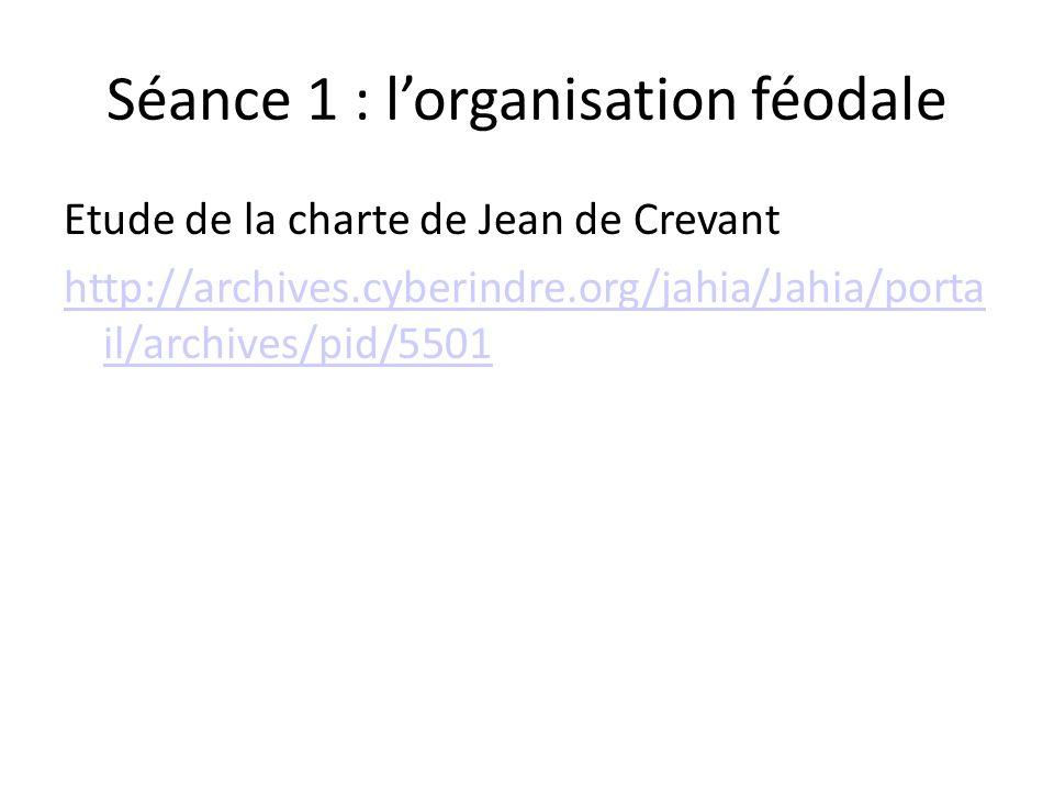 Séance 1 : lorganisation féodale Etude de la charte de Jean de Crevant http://archives.cyberindre.org/jahia/Jahia/porta il/archives/pid/5501