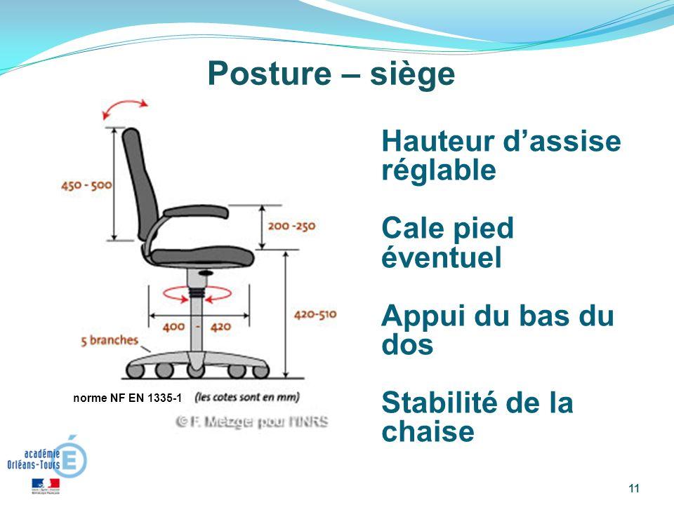 11 Posture – siège Hauteur dassise réglable Cale pied éventuel Appui du bas du dos Stabilité de la chaise norme NF EN 1335-1