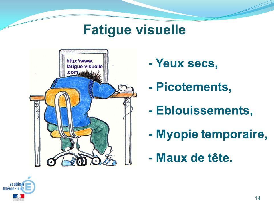 14 Fatigue visuelle - Yeux secs, - Picotements, - Eblouissements, - Myopie temporaire, - Maux de tête.