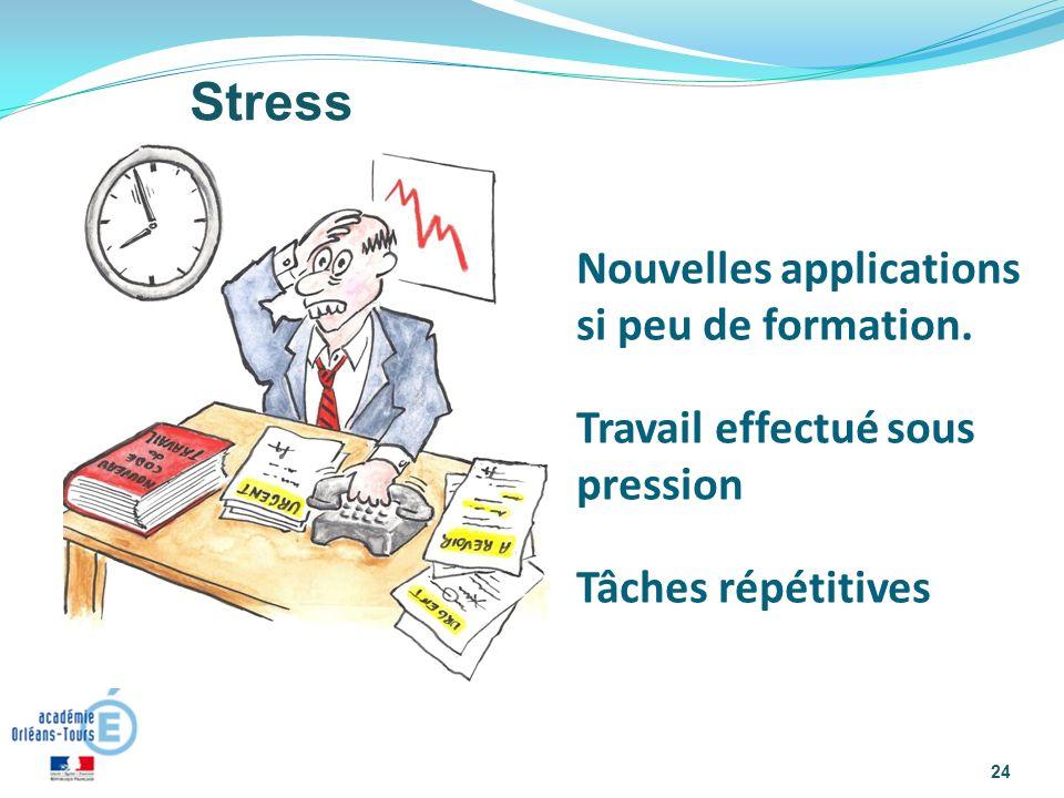 24 Stress Nouvelles applications si peu de formation. Travail effectué sous pression Tâches répétitives