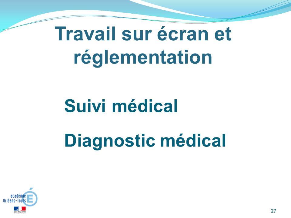 Suivi médical Diagnostic médical : « 27 Travail sur écran et réglementation