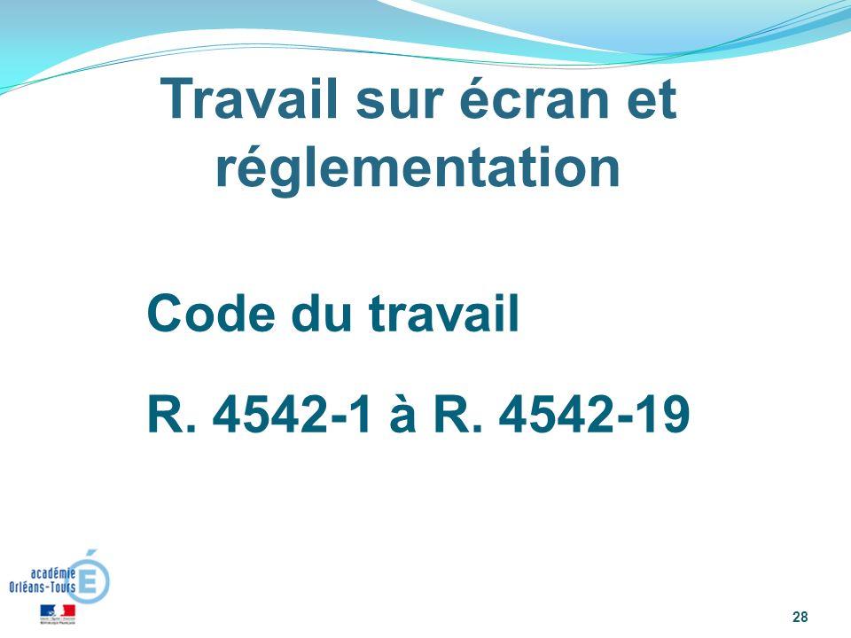 Code du travail R. 4542-1 à R. 4542-19 : « 28 Travail sur écran et réglementation