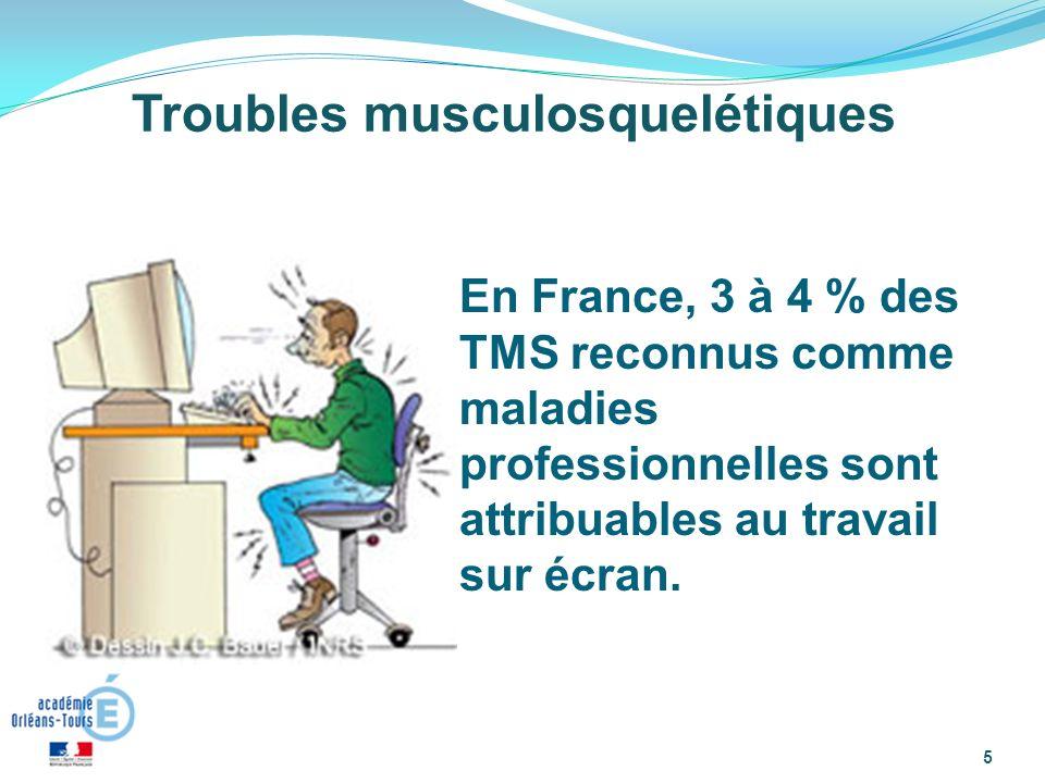 5 Troubles musculosquelétiques En France, 3 à 4 % des TMS reconnus comme maladies professionnelles sont attribuables au travail sur écran.