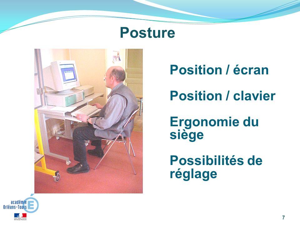 7 Posture Position / écran Position / clavier Ergonomie du siège Possibilités de réglage