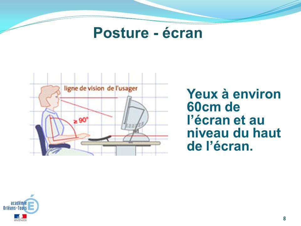 8 Posture - écran Yeux à environ 60cm de lécran et au niveau du haut de lécran.