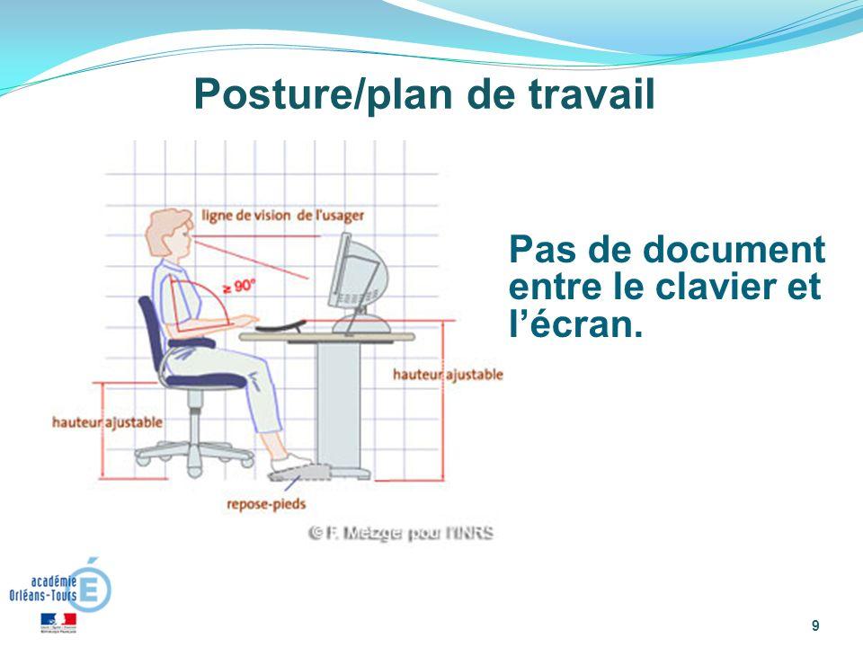 9 Posture/plan de travail Pas de document entre le clavier et lécran.